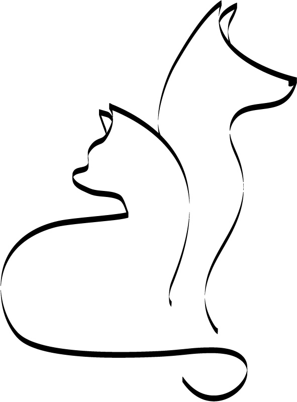 outline cat and dog cats and dogs animals wall stickers wall art decals transfer ebay. Black Bedroom Furniture Sets. Home Design Ideas
