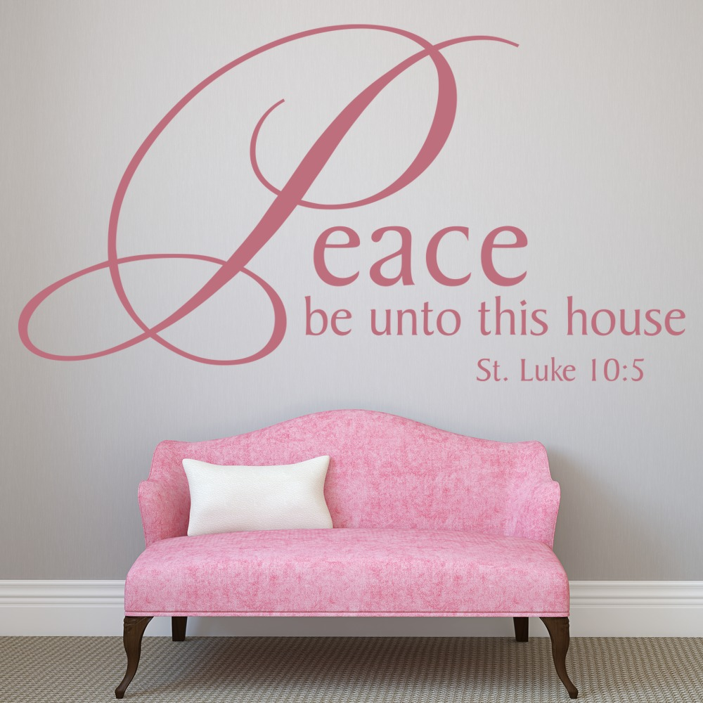 peace be unto this house wall sticker religious wall decal art ebay. Black Bedroom Furniture Sets. Home Design Ideas
