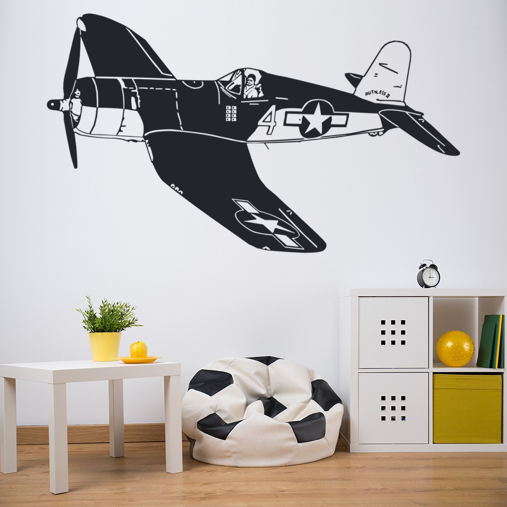 World war 2 airplane wall sticker airplane wall decal art for Airplane wall decoration