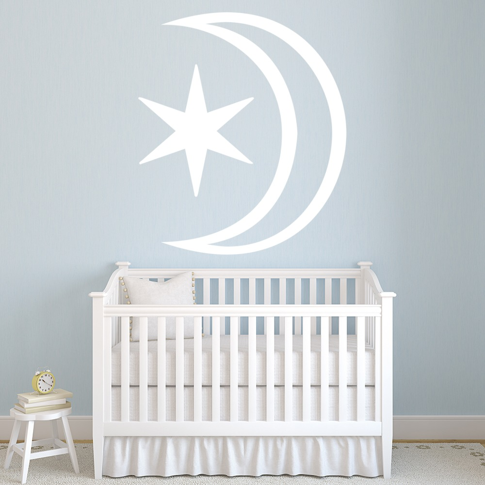 star and moon wall sticker decorative wall decal art ebay. Black Bedroom Furniture Sets. Home Design Ideas