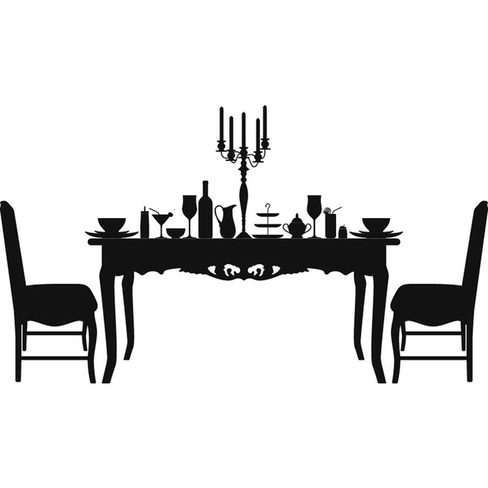 Dining table and chairs wall sticker decorative wall art - Dining room wall art stickers ...