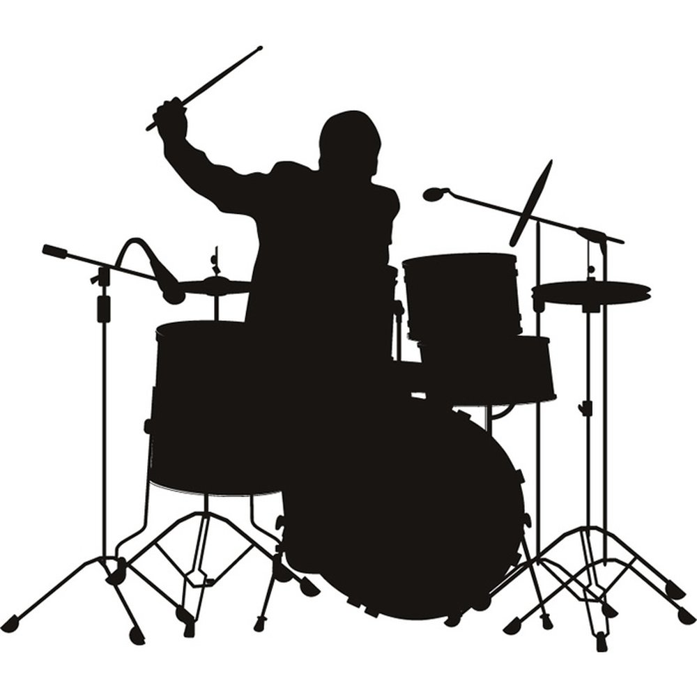 Drummer Silhouette Wall Stickers Music Wall Art