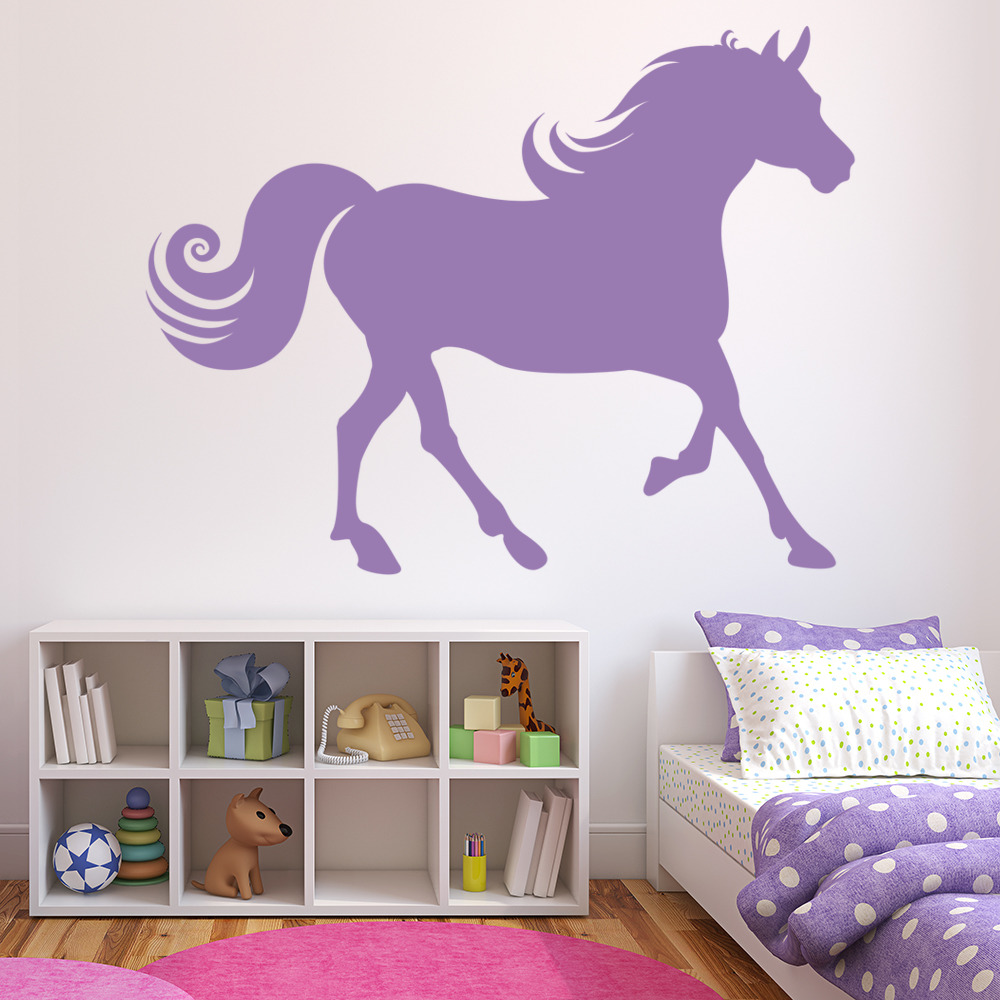 Galloping horse wall stickers animal wall decal art for Horse wall decals