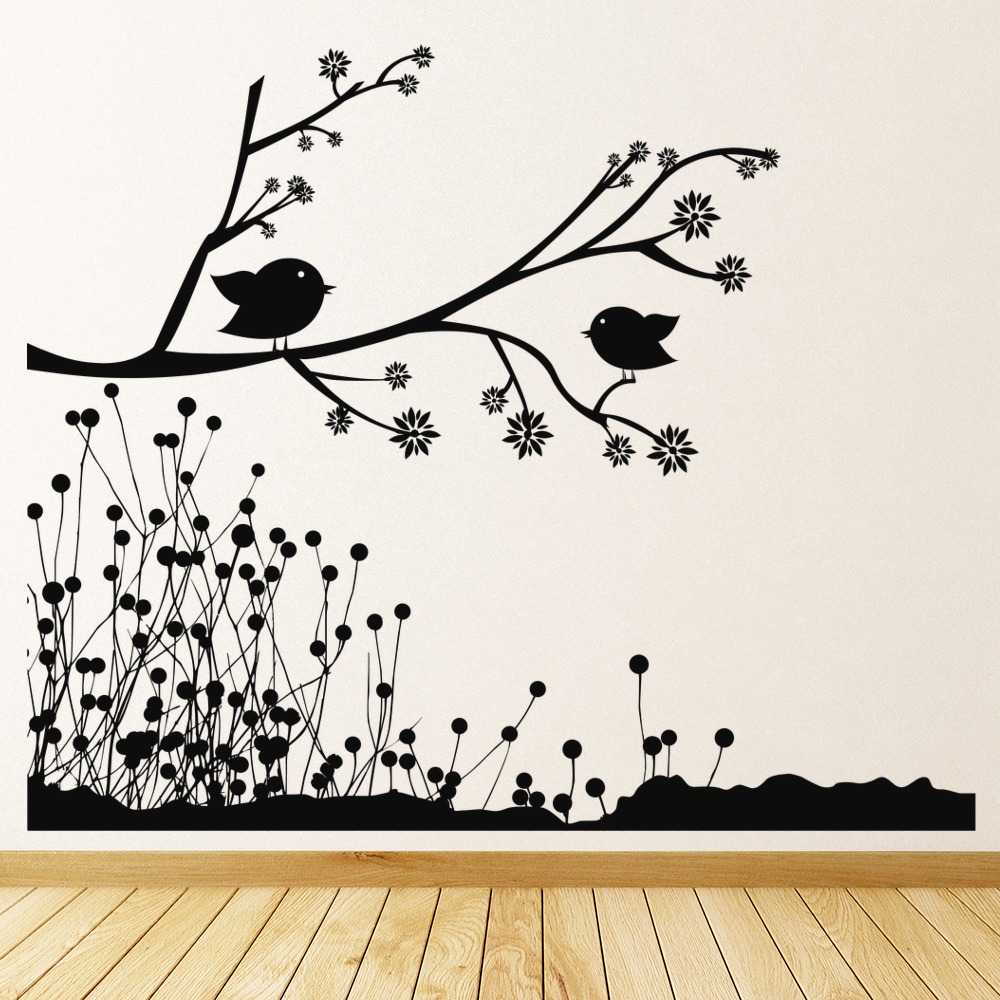 Nature Wall Decor Stickers : Birds on branch wall stickers nature art