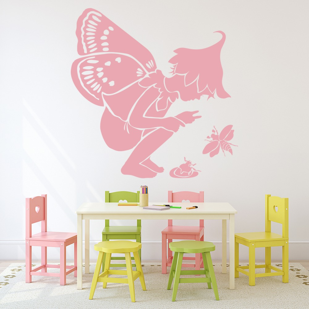 fairy with insects wall sticker fairy wall art nature insect green grass removable vinyl art wall sticker