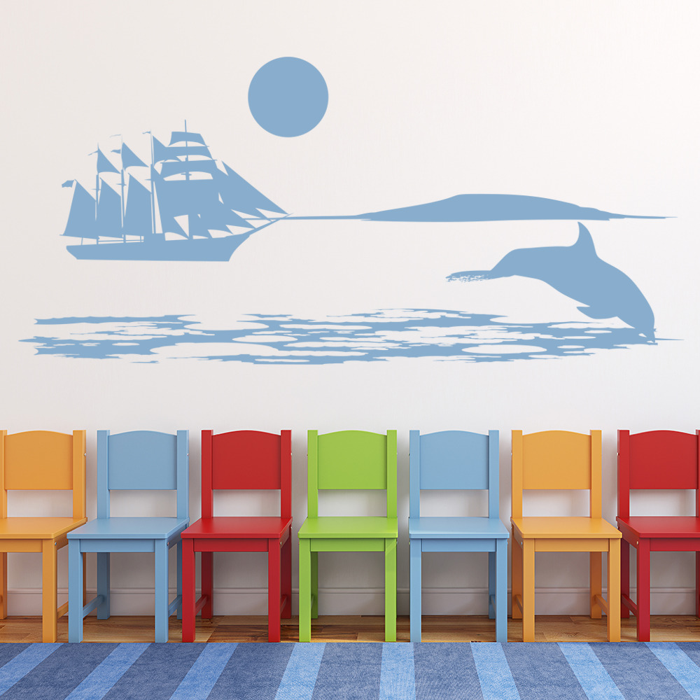 dolphin sea scene wall sticker sea wall decal art under the sea wall stickers