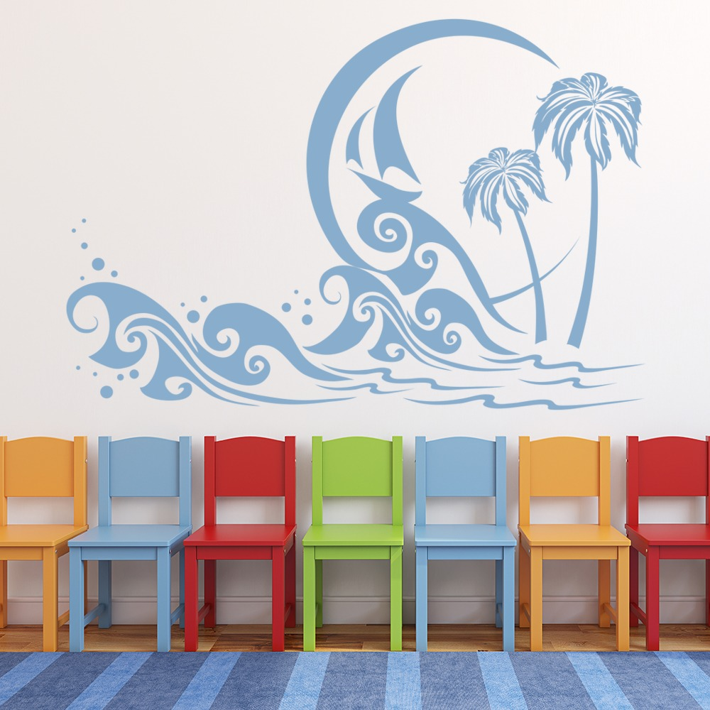 Palm tree beach scene wall sticker beach wall decal art ebay for Beach wall mural sticker