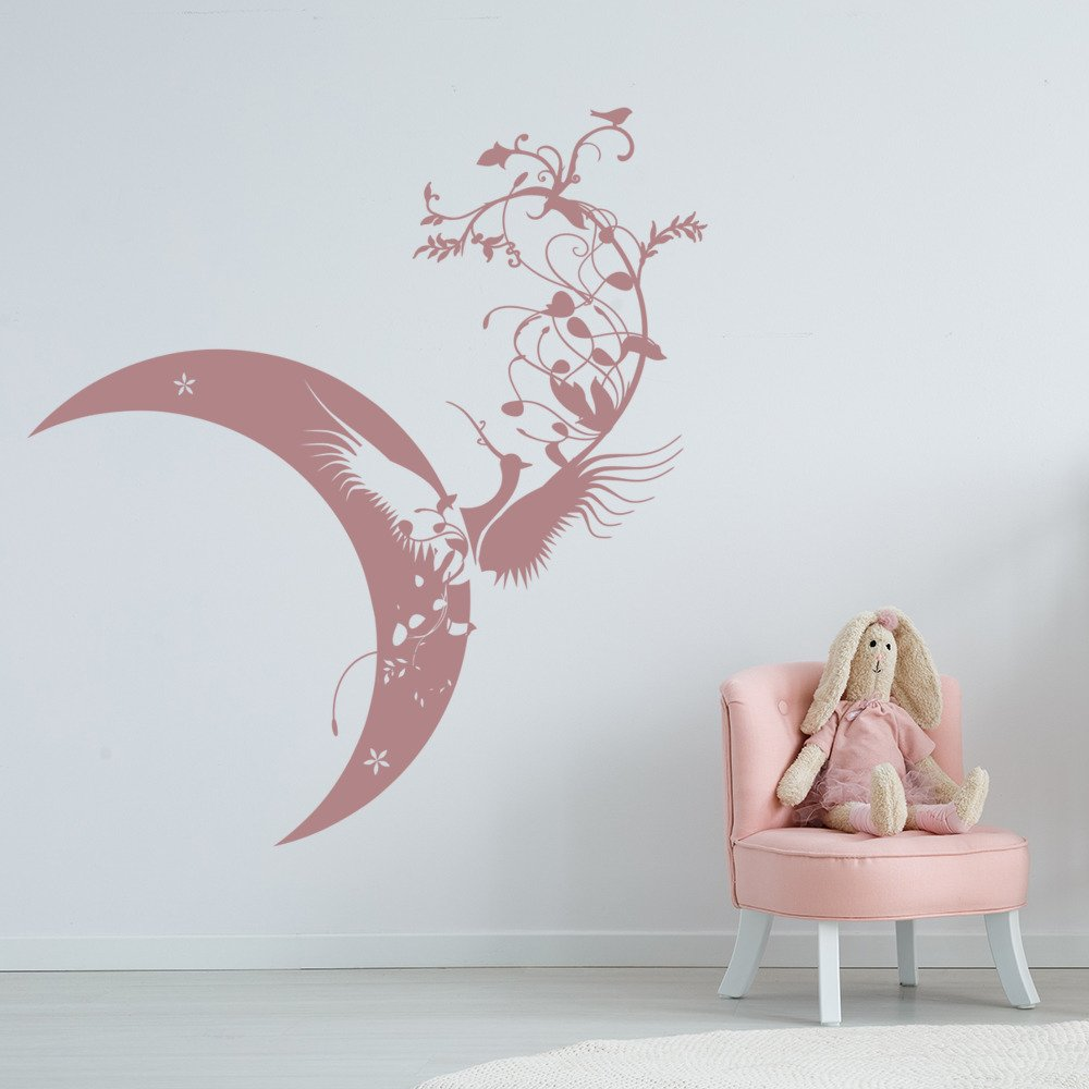 floral mond vogel wandaufkleber wandtattoo vogel art ebay. Black Bedroom Furniture Sets. Home Design Ideas