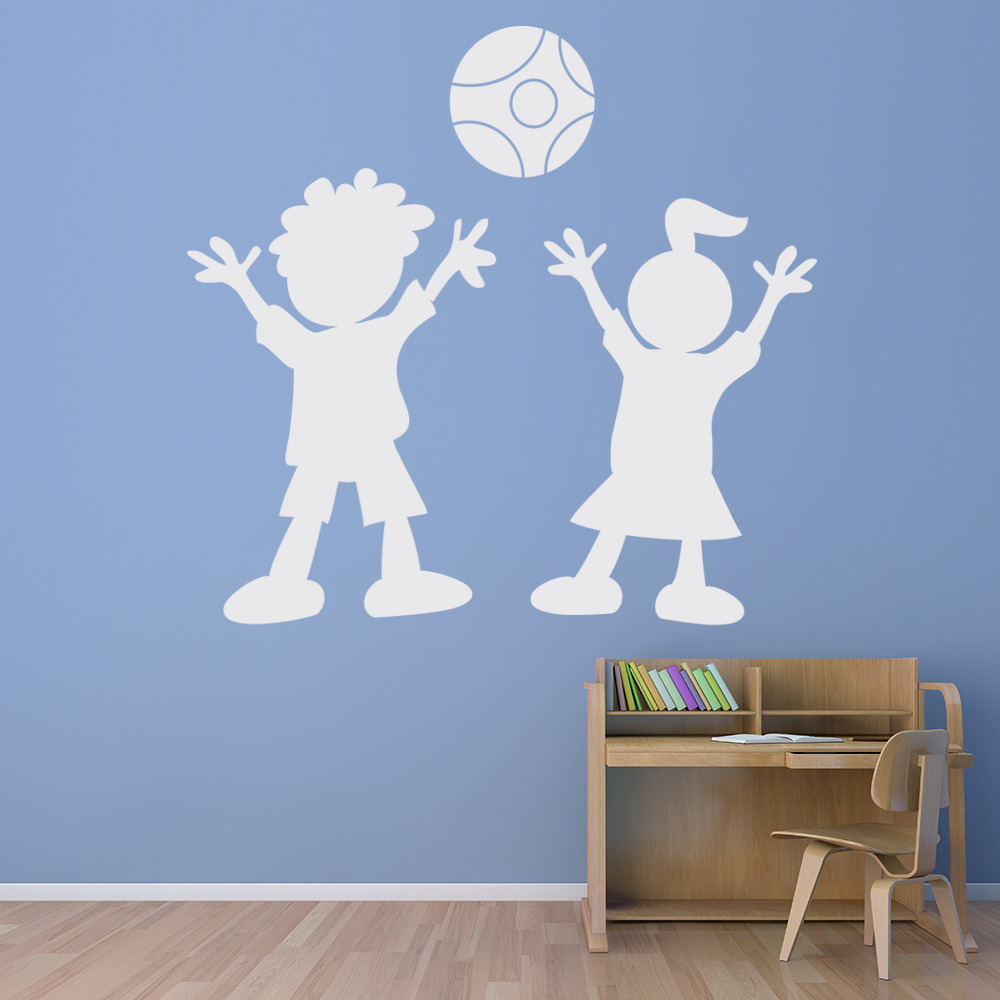 spielende kinder wandsticker kinder wandtattoo kunst ebay. Black Bedroom Furniture Sets. Home Design Ideas
