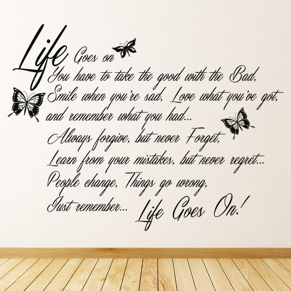 life goes on wall sticker quote wall decal art ebay wall stickers quotes beauty ebay