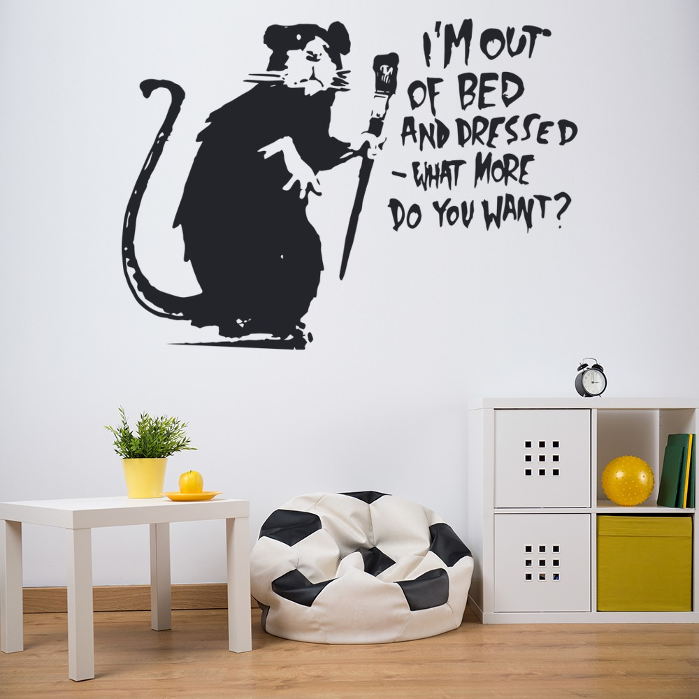faule ratte banksy art wandtattoo art grafitti wand aufkleber ebay. Black Bedroom Furniture Sets. Home Design Ideas