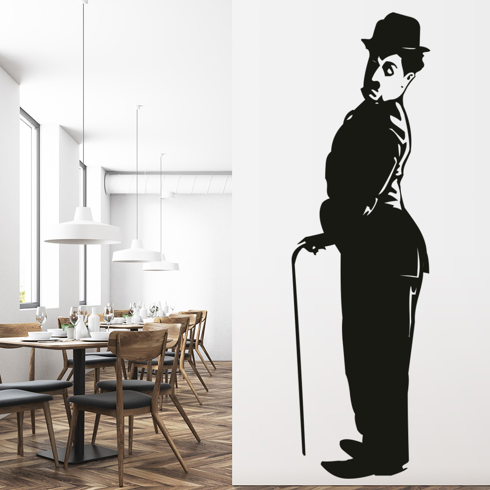 charlie chaplan wall sticker icon wall art. Black Bedroom Furniture Sets. Home Design Ideas