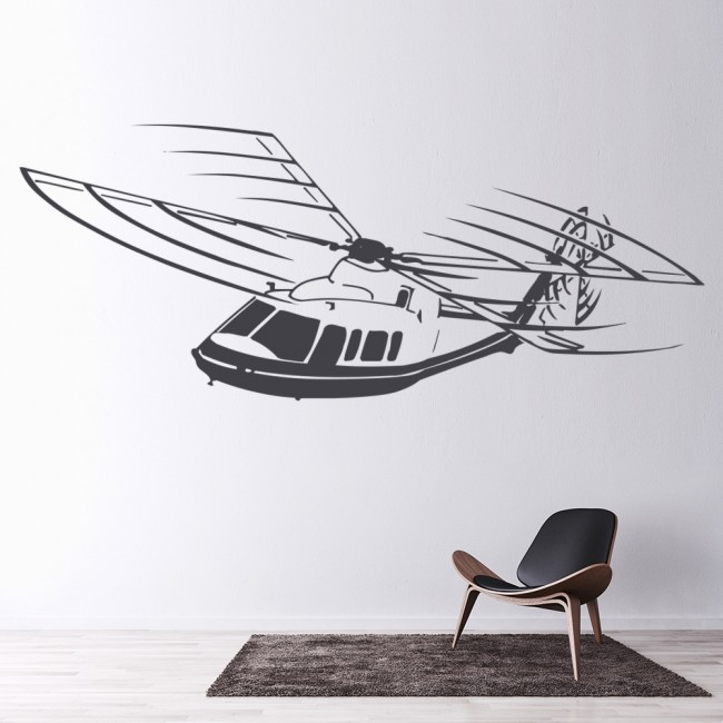 helicopter wall sticker transport wall art