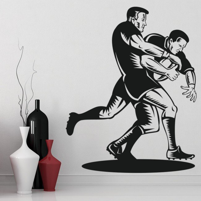 rugby tackle wall sticker sports wall art sports amp hobbies rugby player wall sticker passing the ball sports wall art