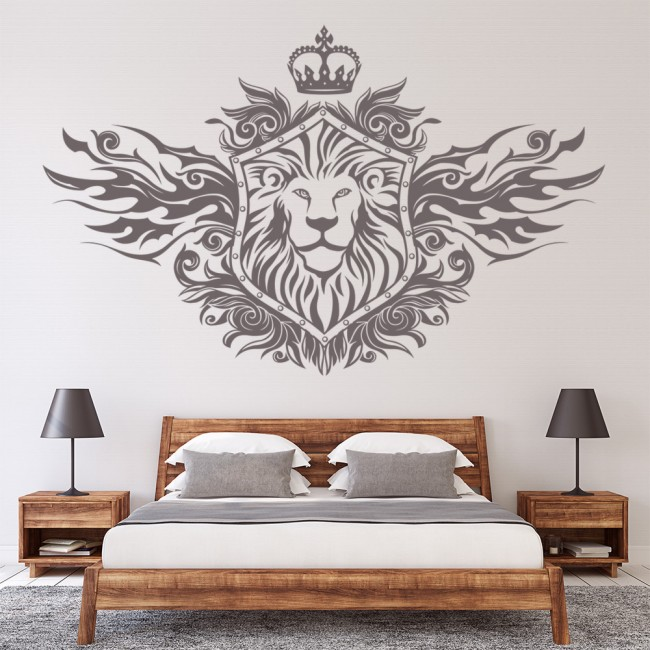 lion shield decorative wall art stickers wall decal. Black Bedroom Furniture Sets. Home Design Ideas