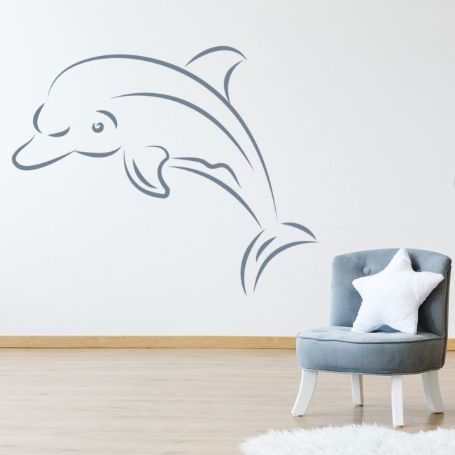 dolphin outline wall sticker sea wall art dolphin porthole wall sticker bedroom lounge sea decal