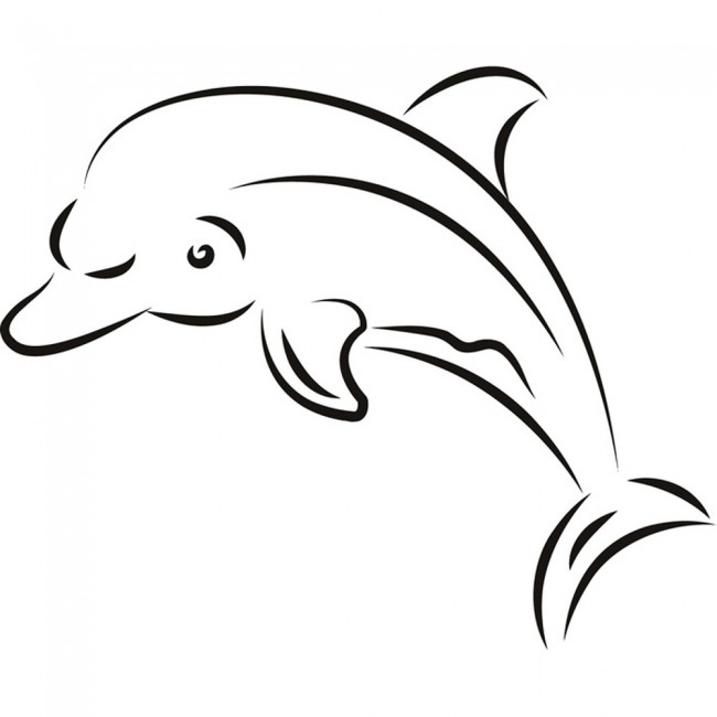 Home dolphin outline wall sticker sea wall art
