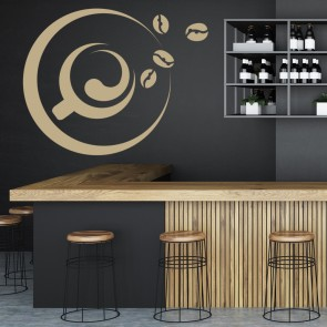 Coffee Cup And Beans Outline Wall Sticker Decorative Wall Art