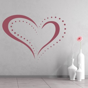 Dotted Heart Outline Wall Sticker Love Heart Wall Art