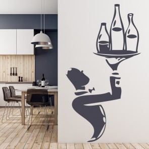 Waiter With Wine Bottles Wall Sticker Chef Wall Art