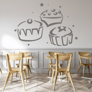 Three Cupcakes Wall Sticker Food Wall Art