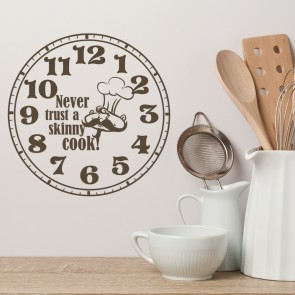 Never Trust A Skinny Chef Clock Wall Sticker Chef Wall Art