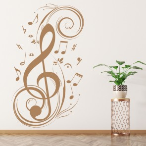 Treble Clef And Musical Notes Musical Notes & Instruments Wall Sticker Art Decal