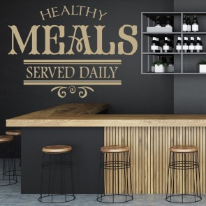 Healthy Meals Served Daily Wall Sticker Kitchen Badge Wall Art
