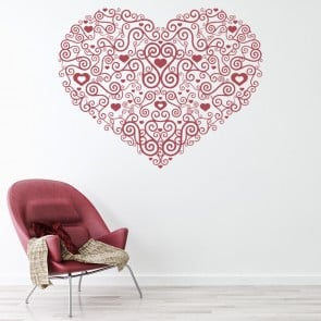 Floral Heart Centrepiece Wall Sticker Flower Wall Art