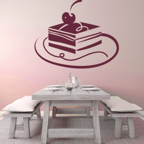 Square cherry Cake Wall Sticker Food Wall Art