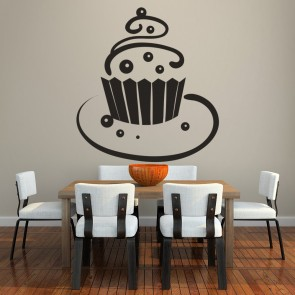 Chocolate Ball Cupcake On Plate Wall Sticker Kitchen Wall Art Decal