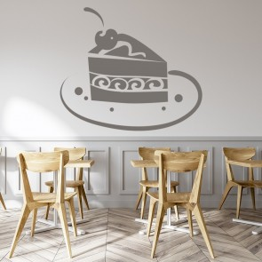 Chocolate Cake Slice On Plate Wall Sticker Kitchen Home Wall Art Decal