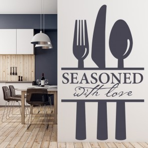 Seasoned With Love Cutlery Set Wall Sticker Kitchen Wall Art