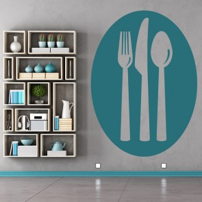 Transparent Silverware On Coloured Oval Background Wall Stickers Decal