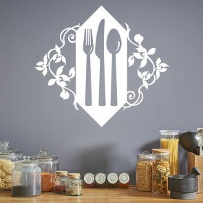 Floral Cutlery Set Wall Sticker Kitchen Wall Art