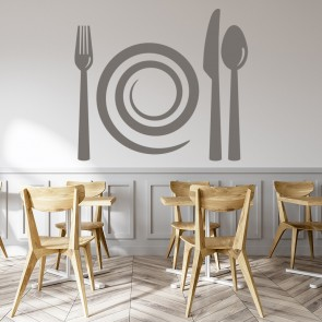 Spiral Plate and Cutlery Wall Stickers Kitchen Home Wall Art Decal
