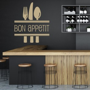 Bon Appetit With Cutlery Wall Stickers Kitchen Wall Art Decal
