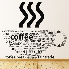 Coffee Types Cup Wall Sticker Coffee Wall Art