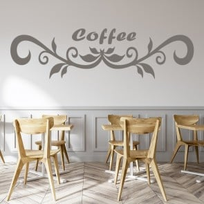 Floral Coffee Kitchen Drink Wall Art Sticker Wall Decal