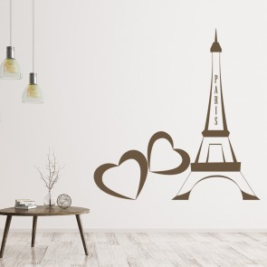 Love Heart Eiffel Tower Wall Sticker Landmark Wall Art