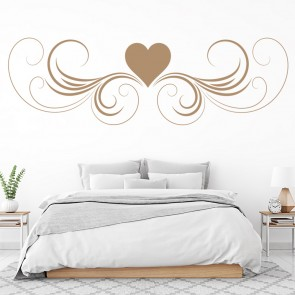 Floral Heart Heading Wall Sticker Swirl Wall Art