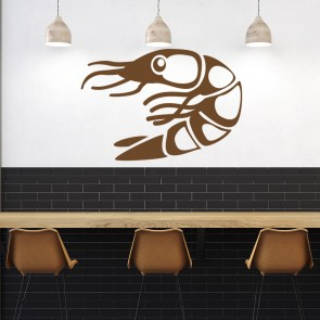 Shrimp Print Wall Sticker Seafood Wall Art