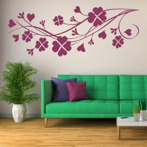 Clover Hearts Branch Wall Sticker Clover Wall Art