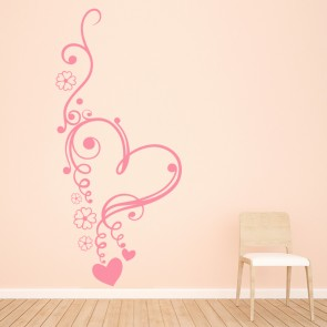 Floral Love Heart Wall Sticker Heart Wall Art