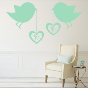 Bird Love Hearts Wall Sticker Love Wall Art