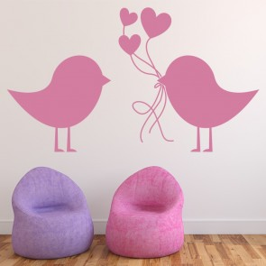 Bird Carrying Hearts Wall Sticker Love Wall Art