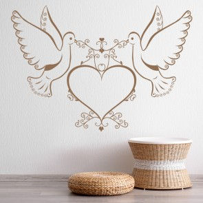 Doves And Heart Wall Stickers Love Wall Art