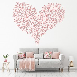 Love Heart Leaves Wall Sticker Love Wall Art