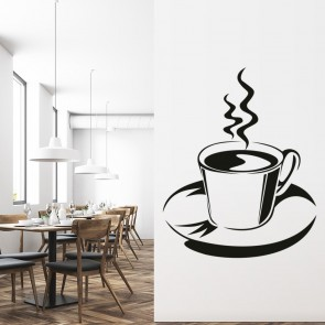 Cup And Saucer Wall Sticker Coffee Wall Art