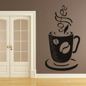Coffee Cup Print Decorative Wall Art Stickers Wall Decal
